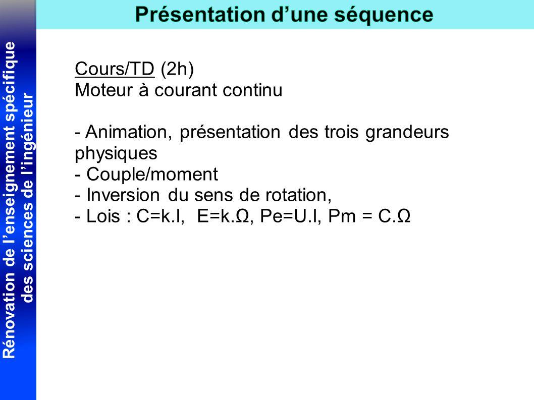 Cours/TD (2h) Moteur à courant continu. - Animation, présentation des trois grandeurs physiques. - Couple/moment.