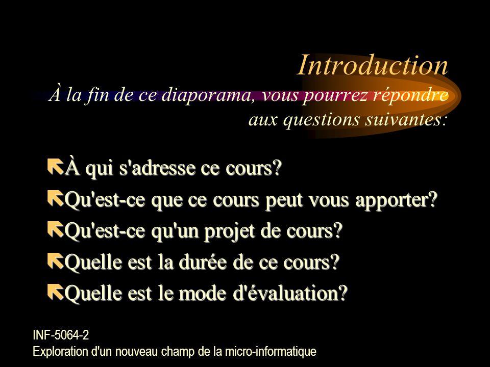 Introduction À la fin de ce diaporama, vous pourrez répondre aux questions suivantes:
