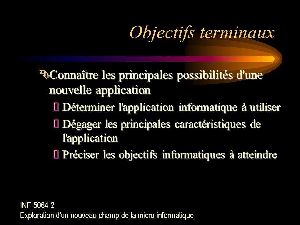 Objectifs terminaux Connaître les principales possibilités d une nouvelle application. Déterminer l application informatique à utiliser.