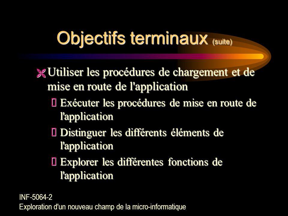 Objectifs terminaux (suite)