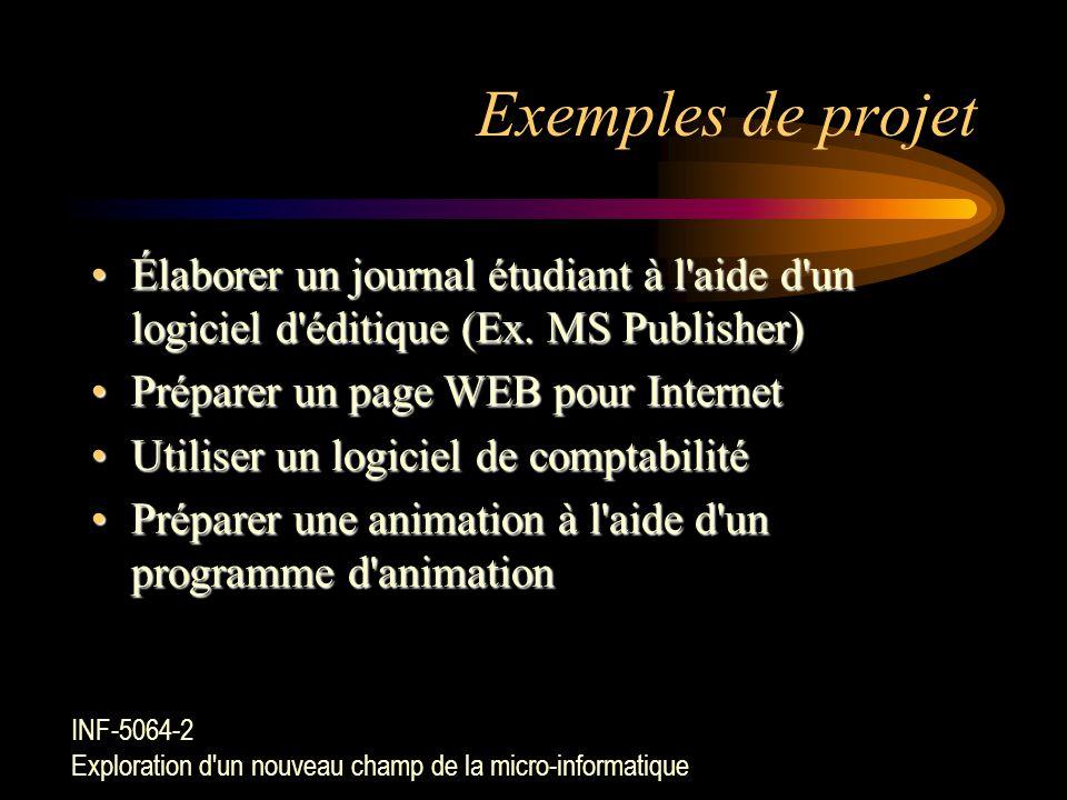 Exemples de projet Élaborer un journal étudiant à l aide d un logiciel d éditique (Ex. MS Publisher)