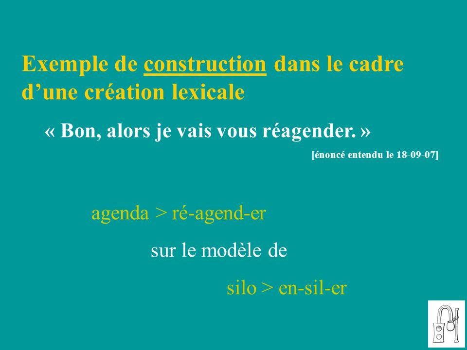 Exemple de construction dans le cadre d'une création lexicale