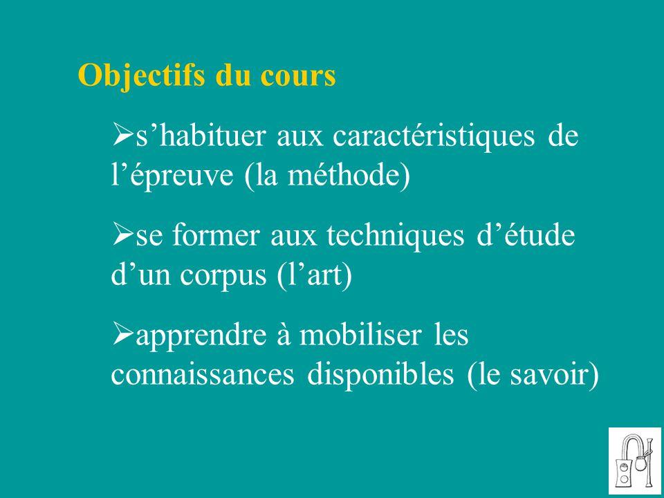 Objectifs du cours s'habituer aux caractéristiques de l'épreuve (la méthode) se former aux techniques d'étude d'un corpus (l'art)