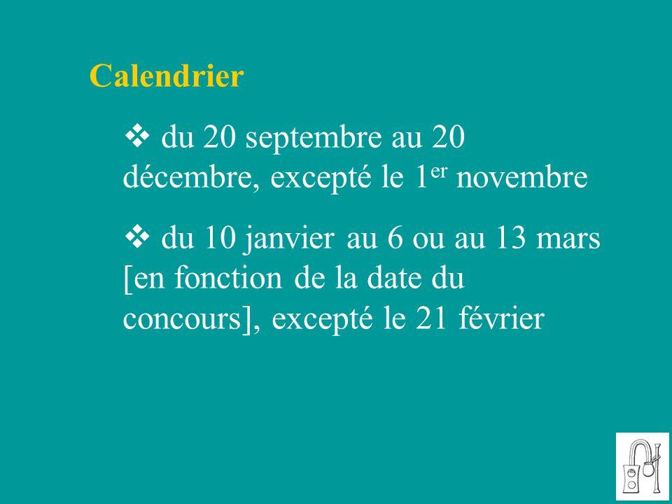 Calendrier du 20 septembre au 20 décembre, excepté le 1er novembre.