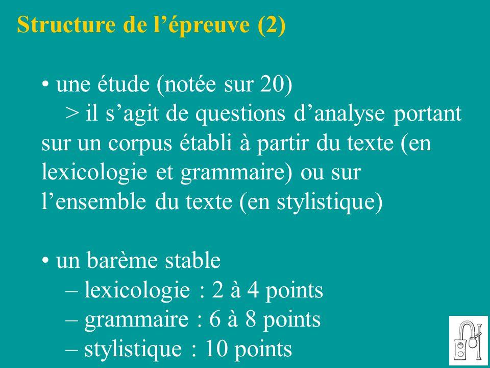 Structure de l'épreuve (2)