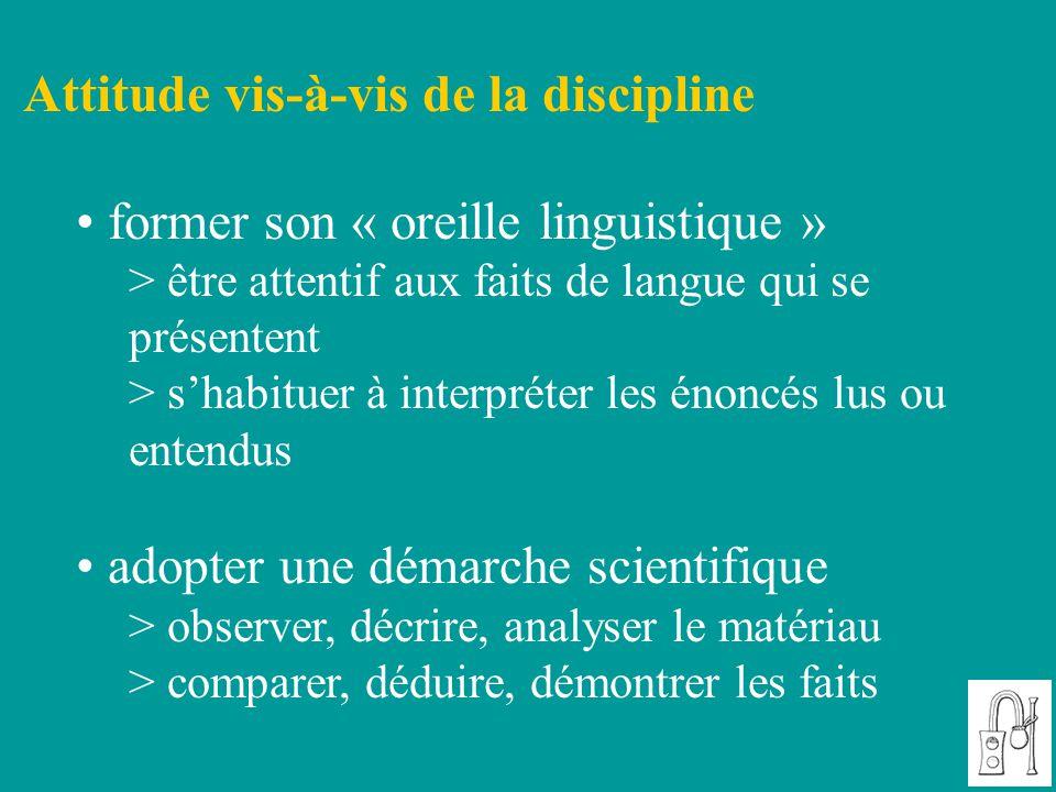 Attitude vis-à-vis de la discipline