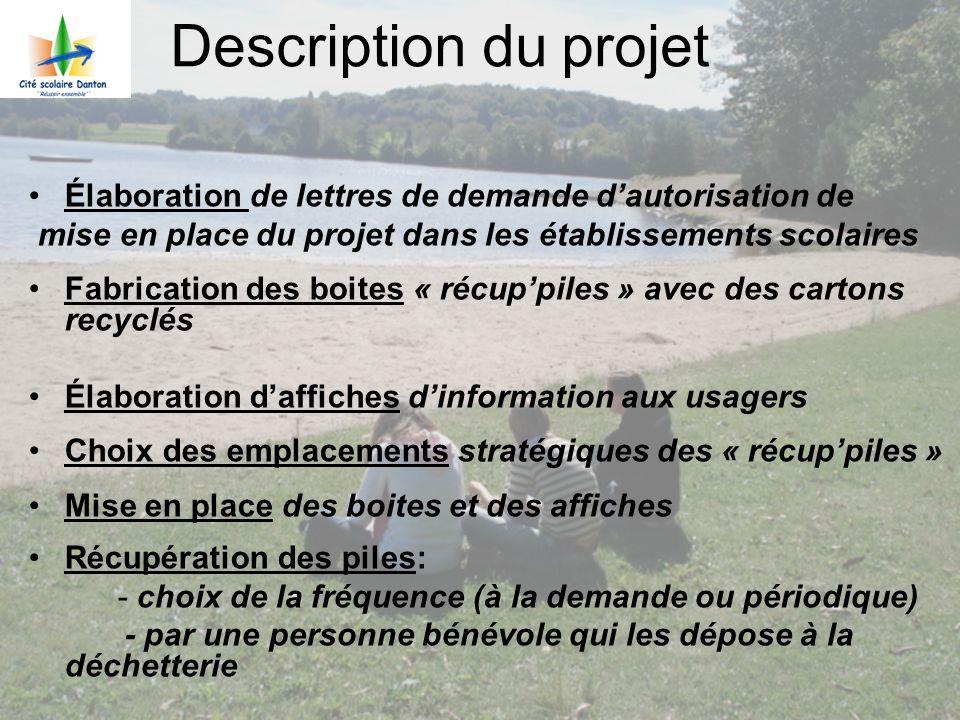 Description du projet Élaboration de lettres de demande d'autorisation de. mise en place du projet dans les établissements scolaires.