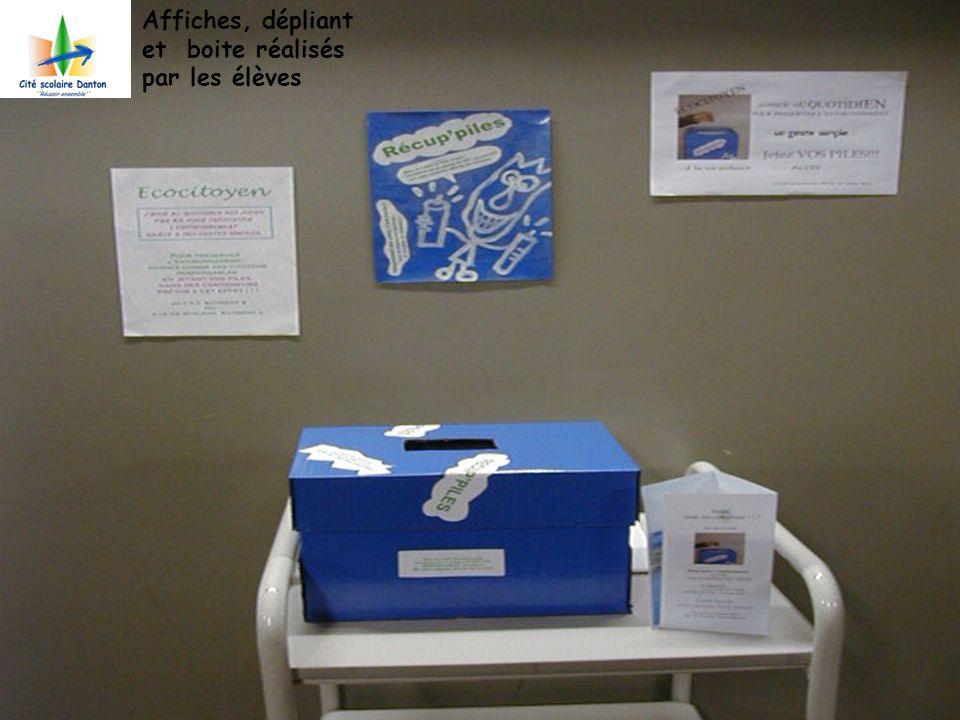 Affiches, dépliant et boite réalisés par les élèves
