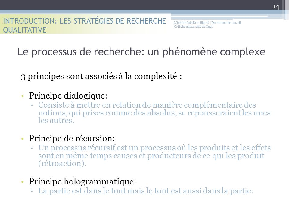 Le processus de recherche: un phénomène complexe