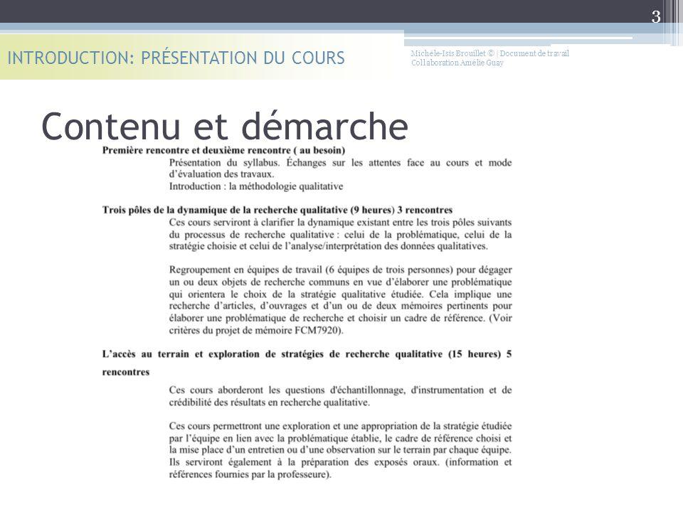 Contenu et démarche INTRODUCTION: PRÉSENTATION DU COURS