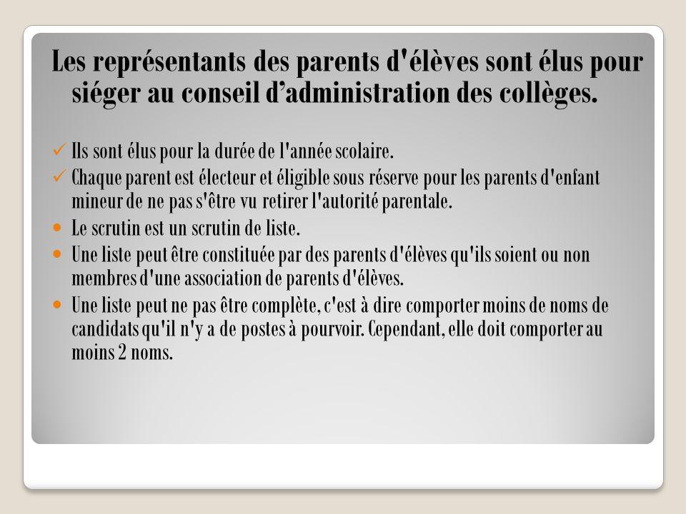 Les représentants des parents d élèves sont élus pour siéger au conseil d'administration des collèges.