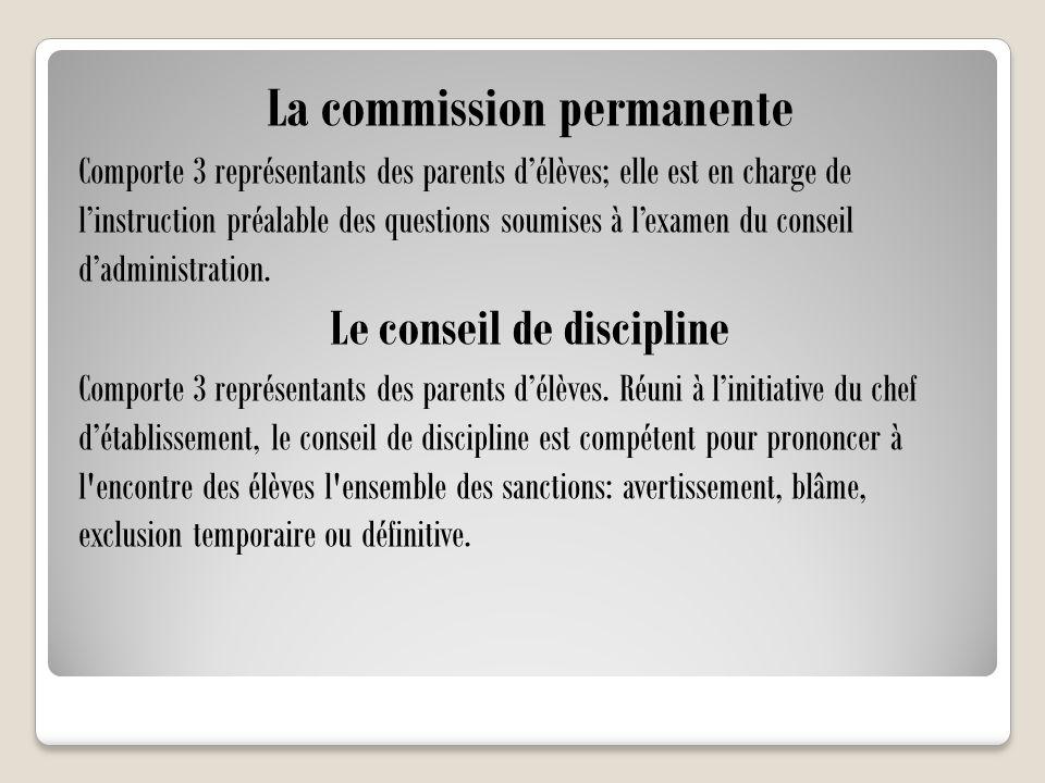 La commission permanente Le conseil de discipline