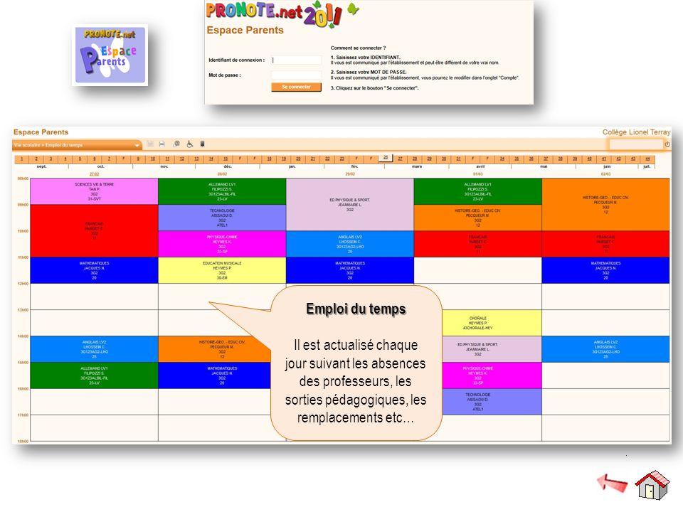 Emploi du temps Il est actualisé chaque jour suivant les absences des professeurs, les sorties pédagogiques, les remplacements etc…