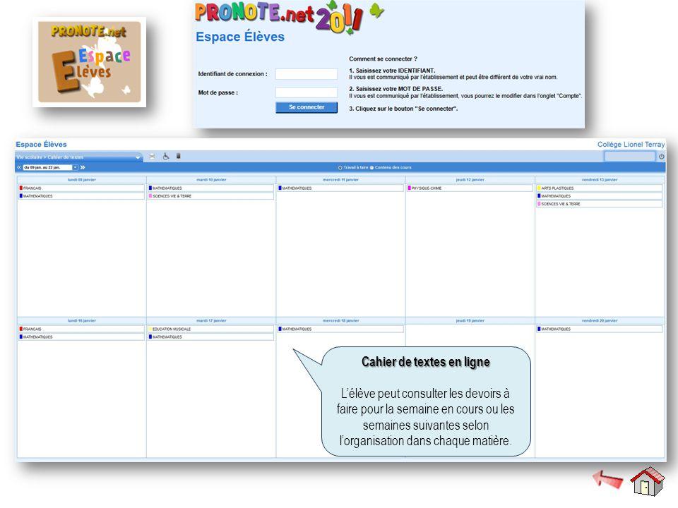 Cahier de textes en ligne L'élève peut consulter les devoirs à faire pour la semaine en cours ou les semaines suivantes selon l'organisation dans chaque matière.