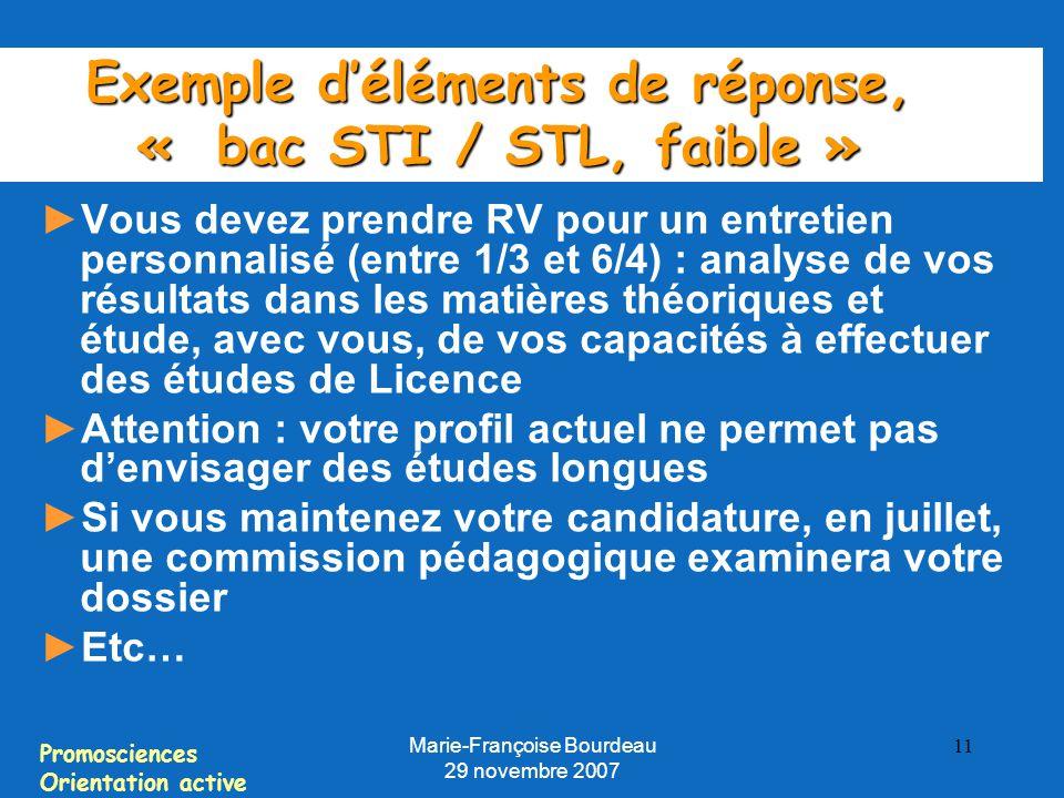 Exemple d'éléments de réponse, « bac STI / STL, faible »