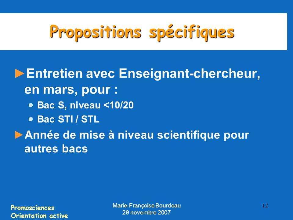 Propositions spécifiques
