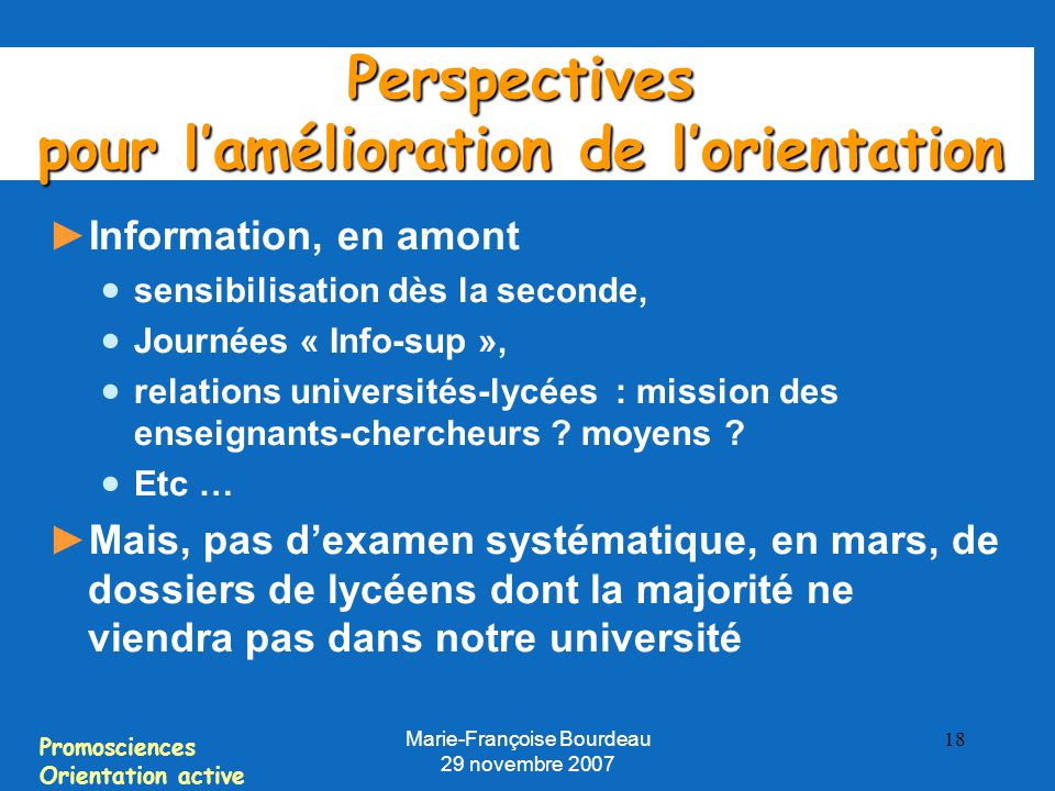 Perspectives pour l'amélioration de l'orientation