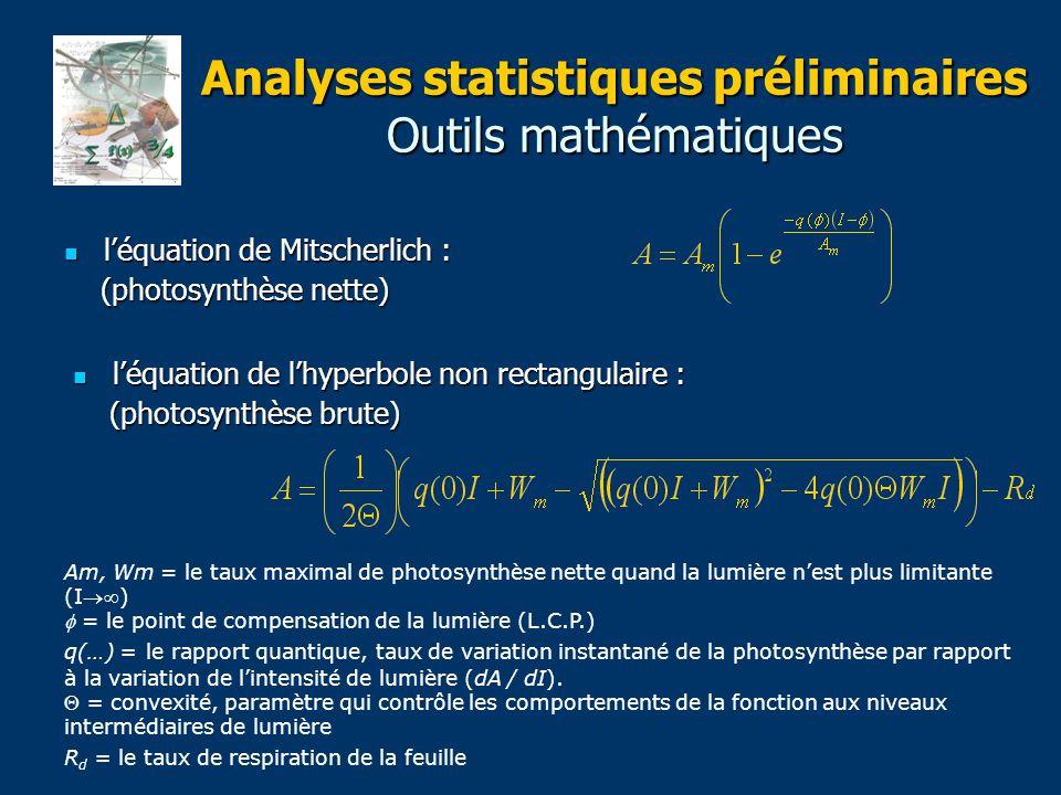 Analyses statistiques préliminaires Outils mathématiques