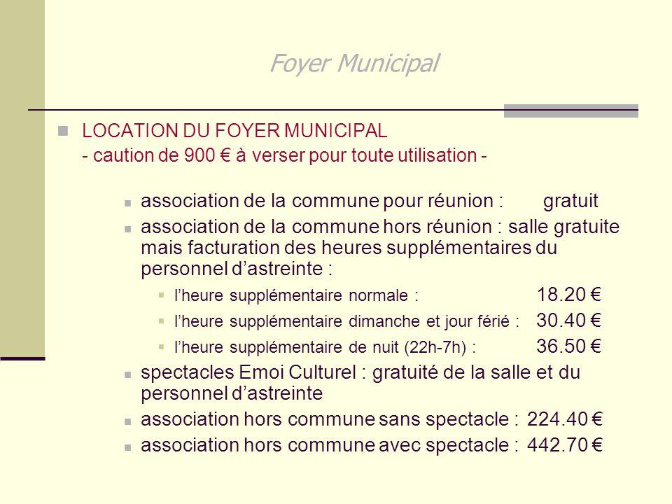 Foyer Municipal association de la commune pour réunion : gratuit