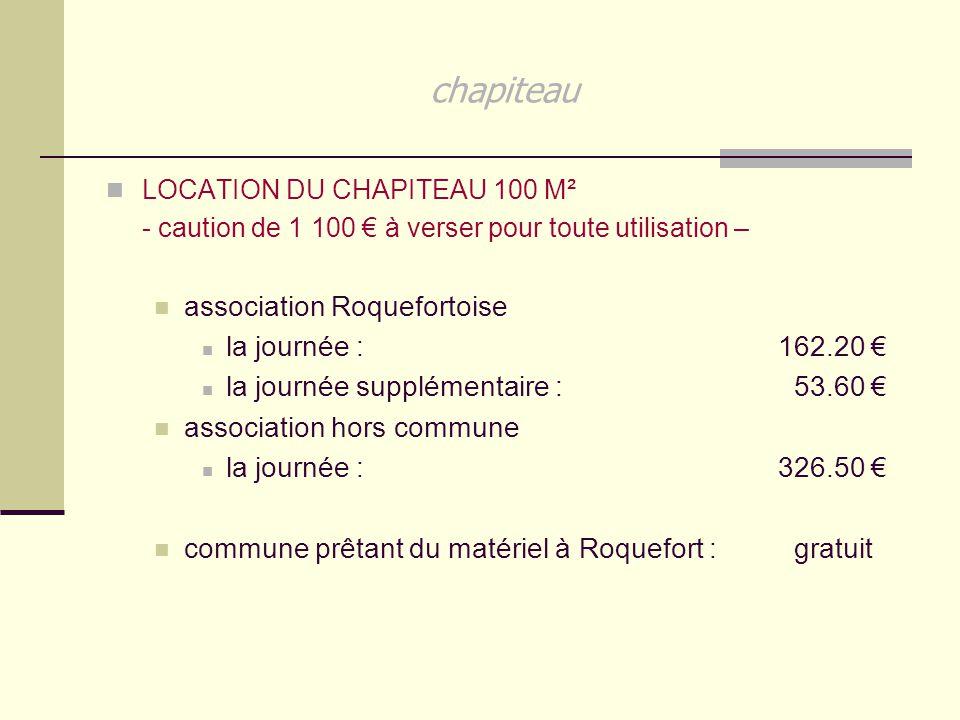 chapiteau association Roquefortoise la journée : 162.20 €