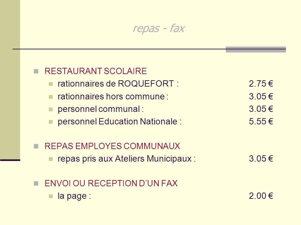 repas - fax rationnaires de ROQUEFORT : 2.75 €
