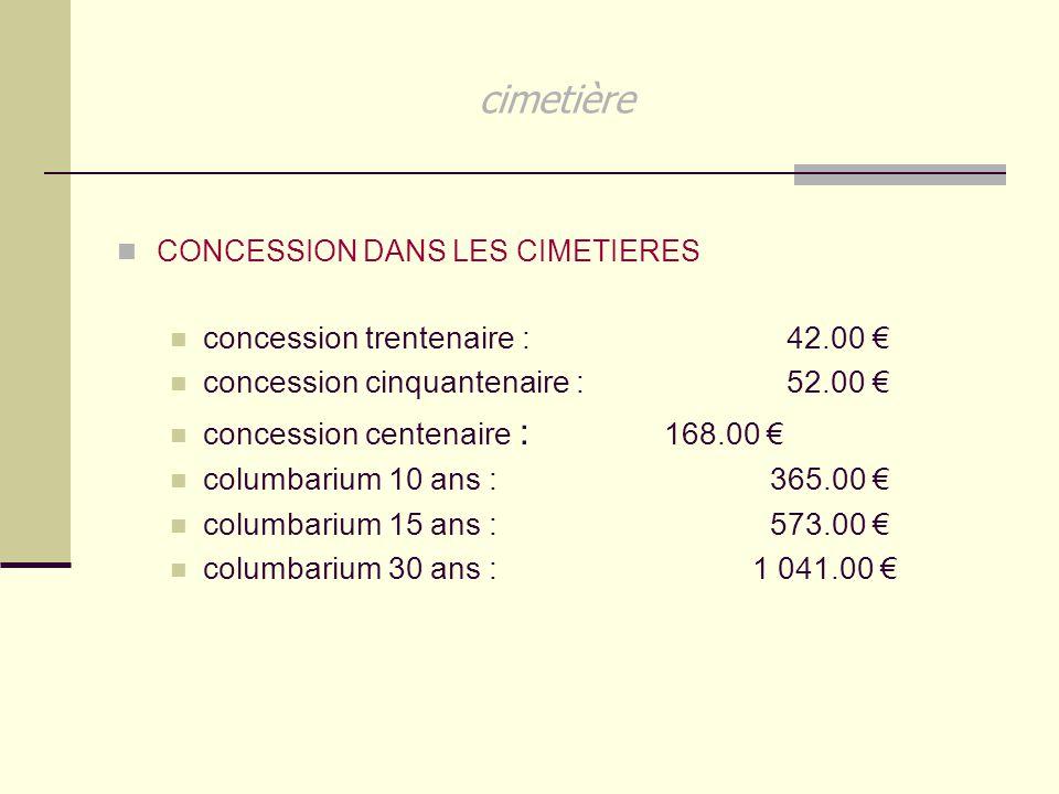 cimetière concession trentenaire : 42.00 €