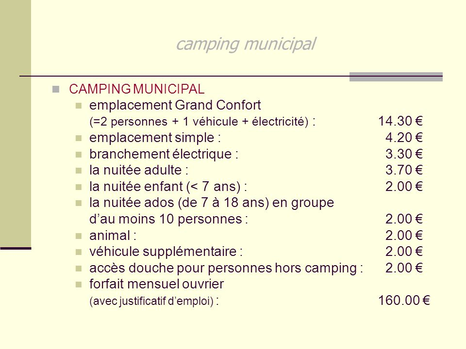camping municipal emplacement Grand Confort