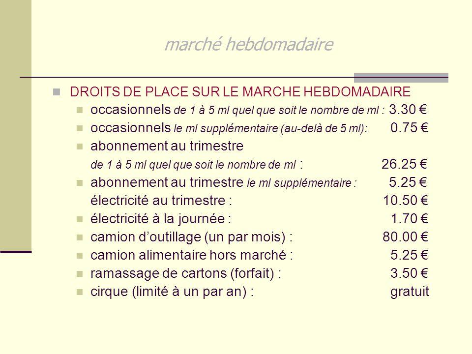 marché hebdomadaire DROITS DE PLACE SUR LE MARCHE HEBDOMADAIRE. occasionnels de 1 à 5 ml quel que soit le nombre de ml : 3.30 €