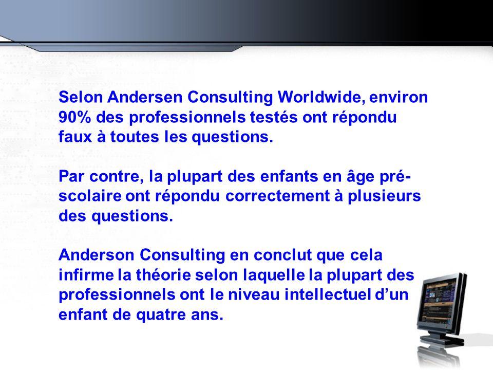 Selon Andersen Consulting Worldwide, environ 90% des professionnels testés ont répondu faux à toutes les questions.