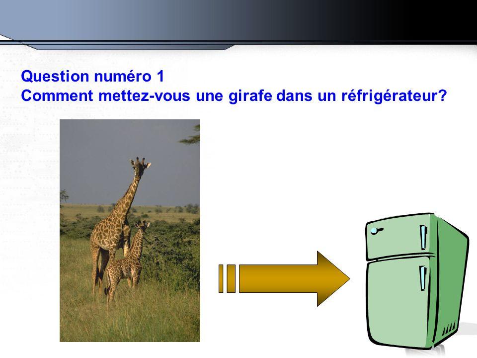 Question numéro 1 Comment mettez-vous une girafe dans un réfrigérateur