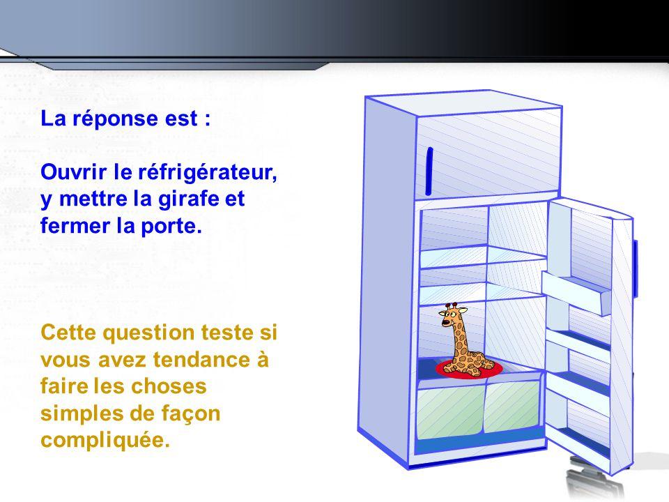 La réponse est : Ouvrir le réfrigérateur, y mettre la girafe et fermer la porte.