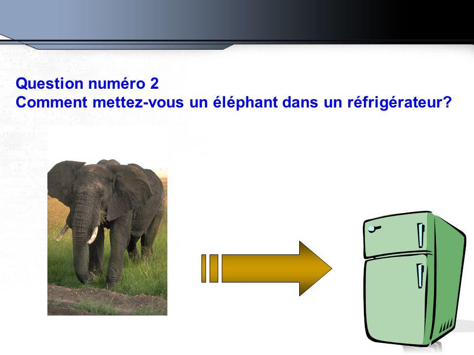 Question numéro 2 Comment mettez-vous un éléphant dans un réfrigérateur