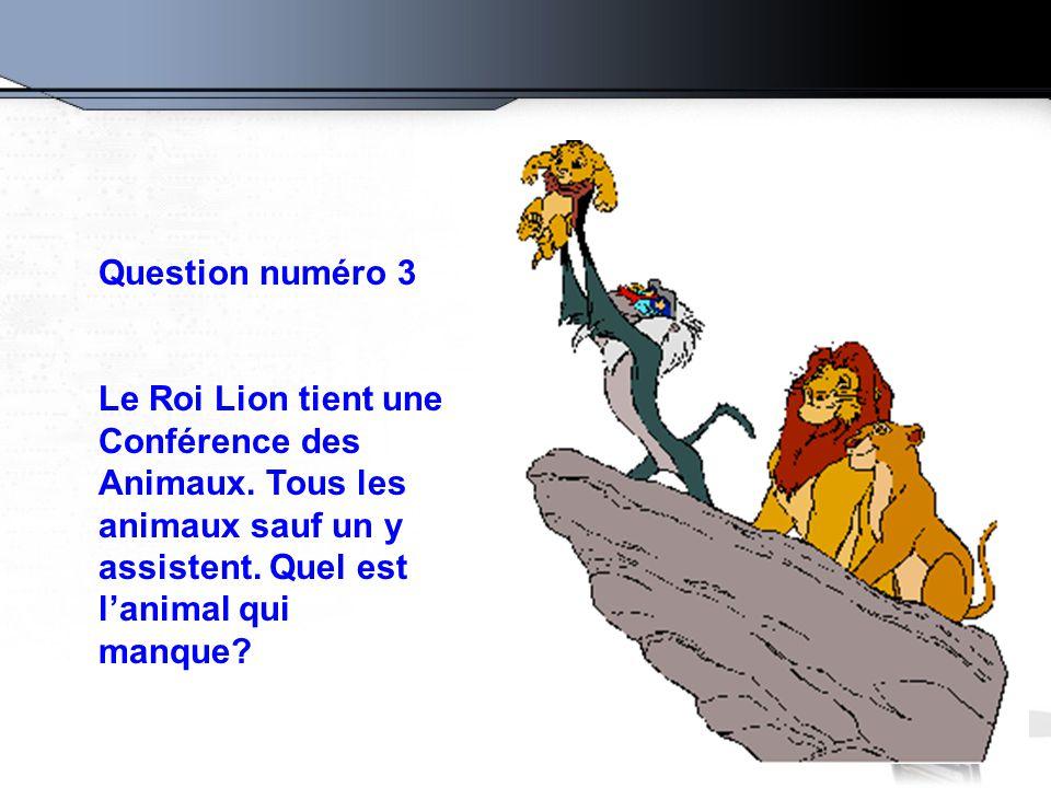 Question numéro 3 Le Roi Lion tient une Conférence des Animaux.