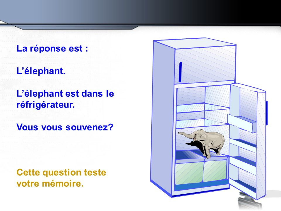 La réponse est : L'élephant. L'élephant est dans le réfrigérateur.