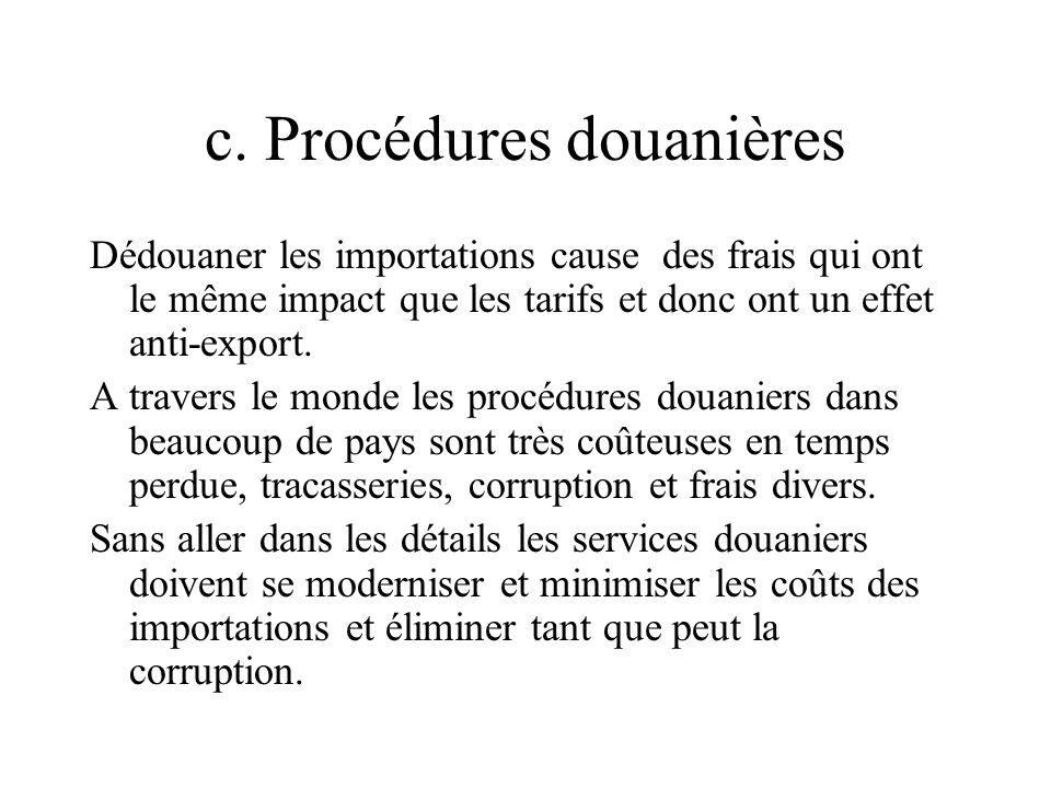 c. Procédures douanières