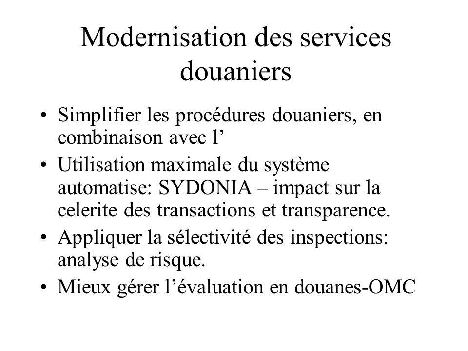 Modernisation des services douaniers
