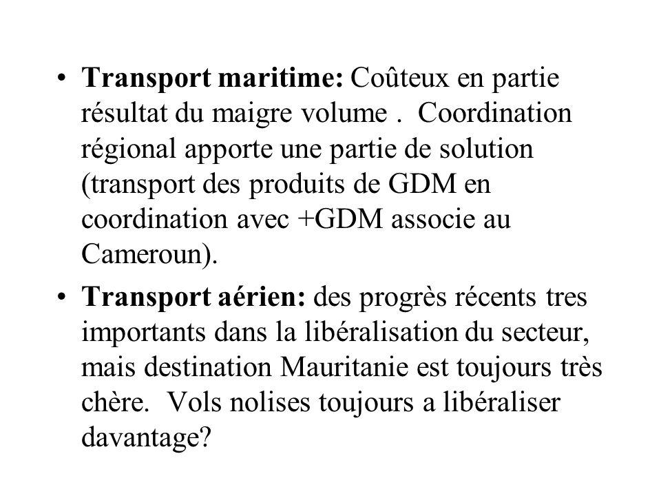 Transport maritime: Coûteux en partie résultat du maigre volume