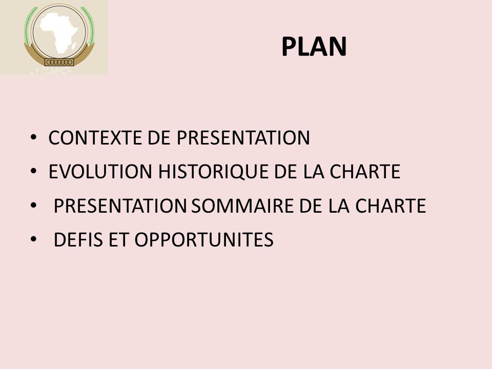 PLAN CONTEXTE DE PRESENTATION EVOLUTION HISTORIQUE DE LA CHARTE