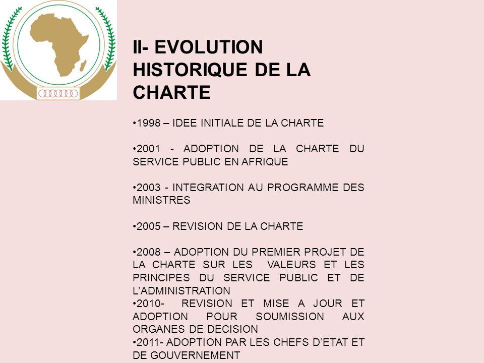 II- EVOLUTION HISTORIQUE DE LA CHARTE