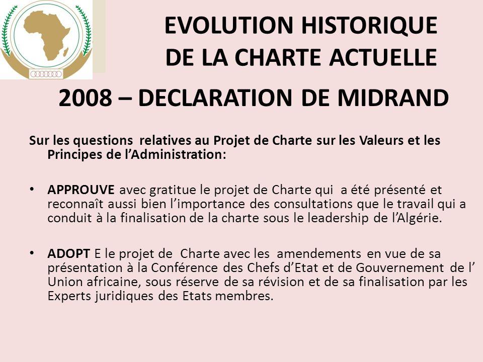 EVOLUTION HISTORIQUE DE LA CHARTE ACTUELLE