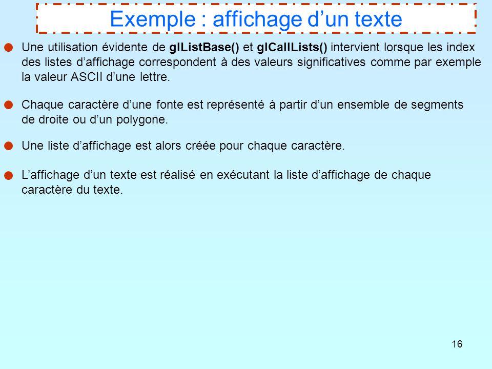 Exemple : affichage d'un texte
