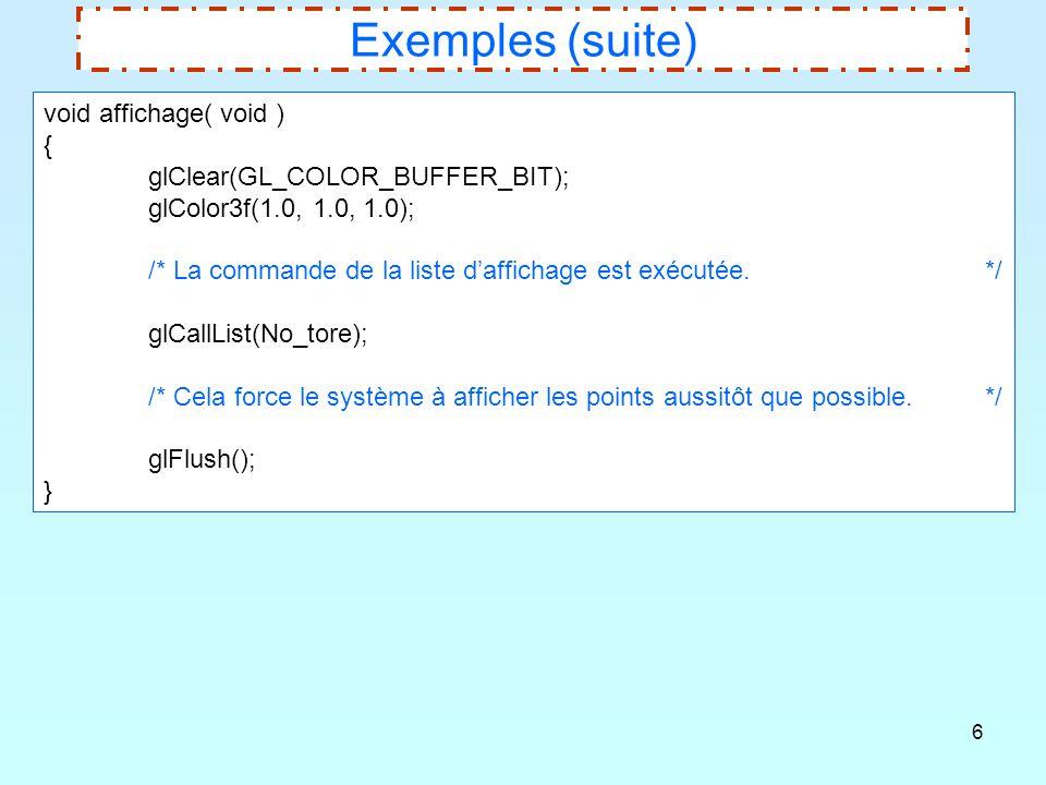 Exemples (suite) void affichage( void ) {