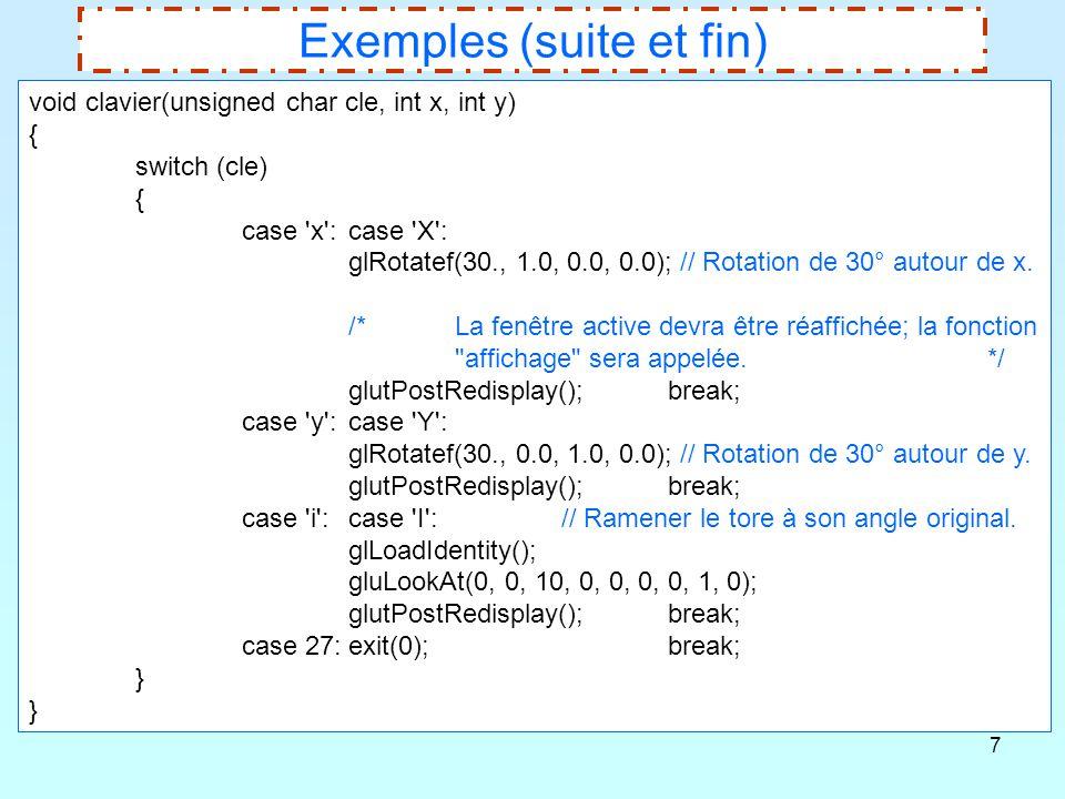 Exemples (suite et fin)