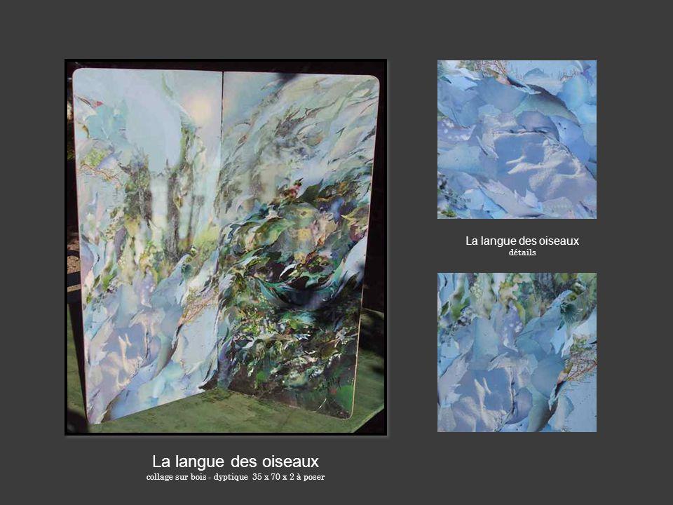 collage sur bois - dyptique 35 x 70 x 2 à poser