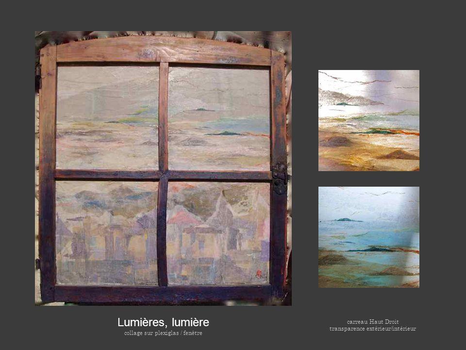 Lumières, lumière carreau Haut Droit collage sur plexiglas / fenêtre