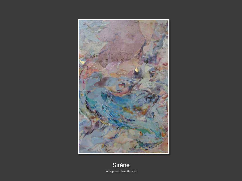 Sirène collage sur bois 35 x 50