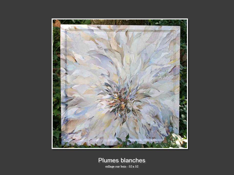 Plumes blanches collage sur bois - 52 x 52