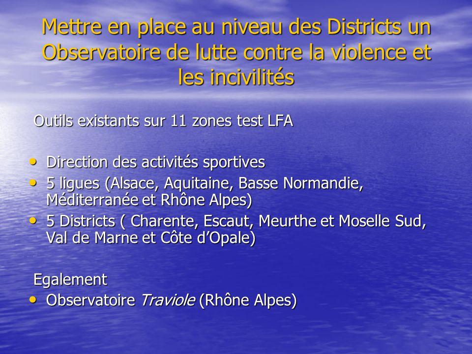 Mettre en place au niveau des Districts un Observatoire de lutte contre la violence et les incivilités