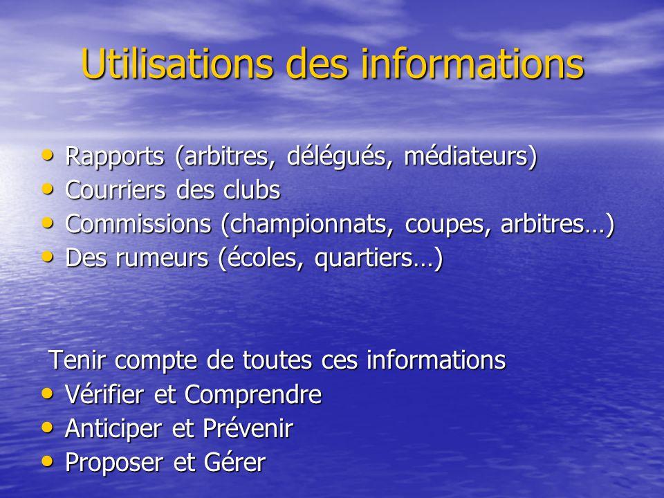 Utilisations des informations