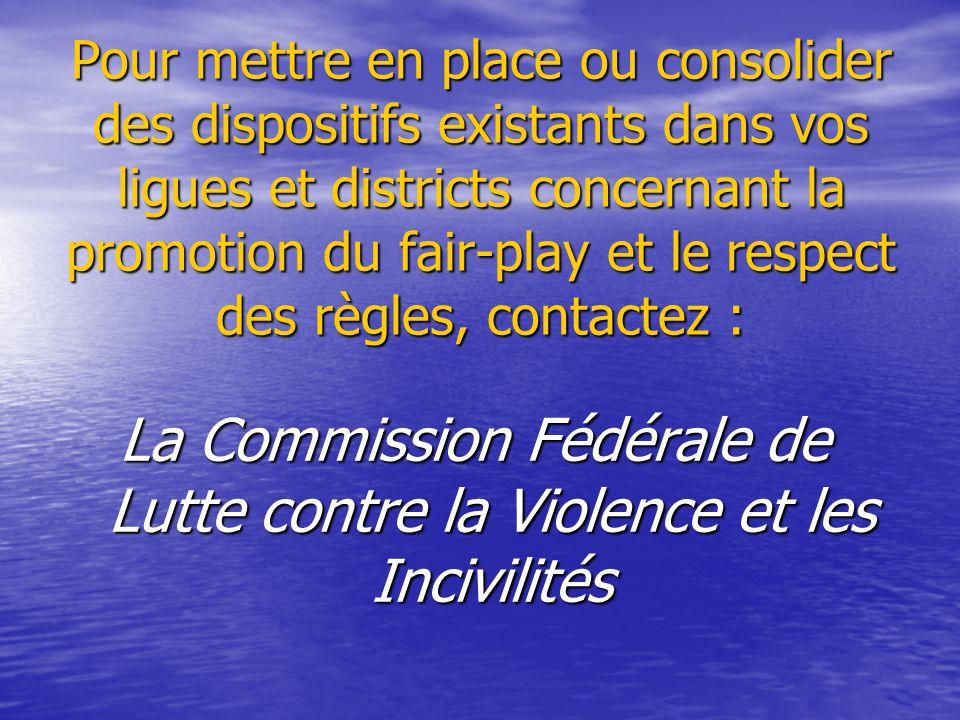 La Commission Fédérale de Lutte contre la Violence et les Incivilités